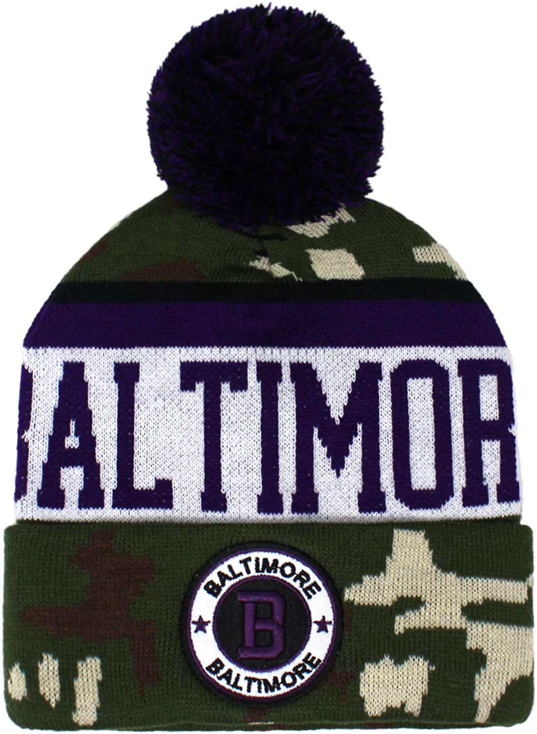 Football City Pom Beanie Premium Embroidered Patch Winter Soft Thick Beanie Camo Skully Hat