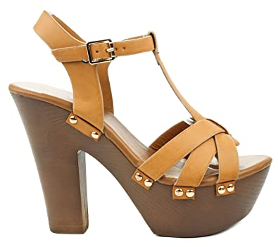 Amazoncom  TopModa Oak TStrap Leatherette Buckle Faux Wooden Heel  Comfort Platform Dress Sandals  Platforms  Wedges