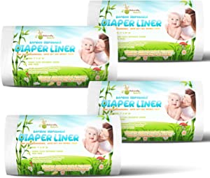 Naturally Natures Bamboo Diaper Liners 400 Sheets (4 Pack) Gentle and Soft, Chlorine and Dye-Free, Unscented, Biodegradable Inserts (Set of 4) 400 Liners