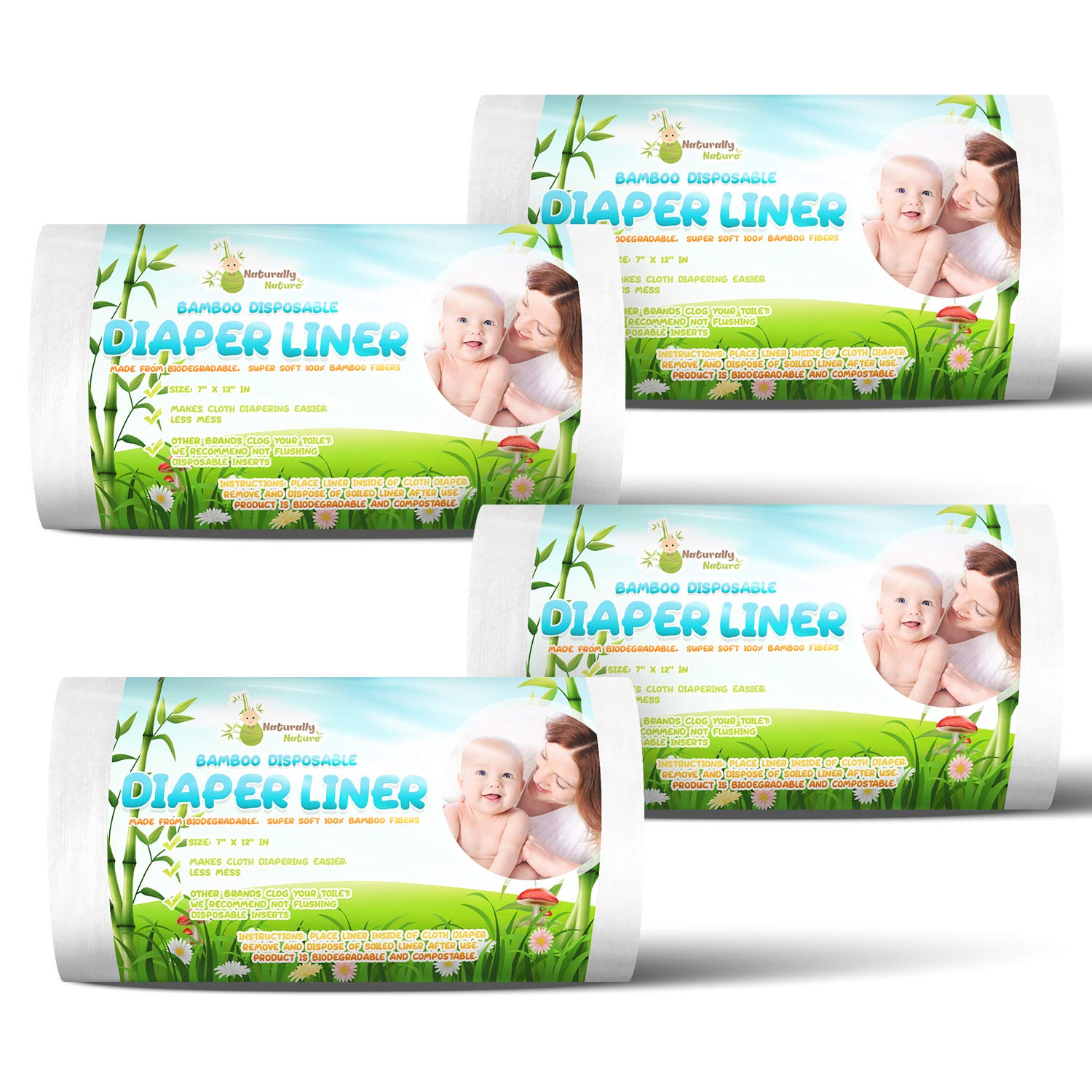 4 Pack Set of 4 Naturally Natures Bamboo Diaper Liners 400 Sheets Biodegradable Inserts Gentle and Soft Unscented Chlorine and Dye-Free 400 Liners