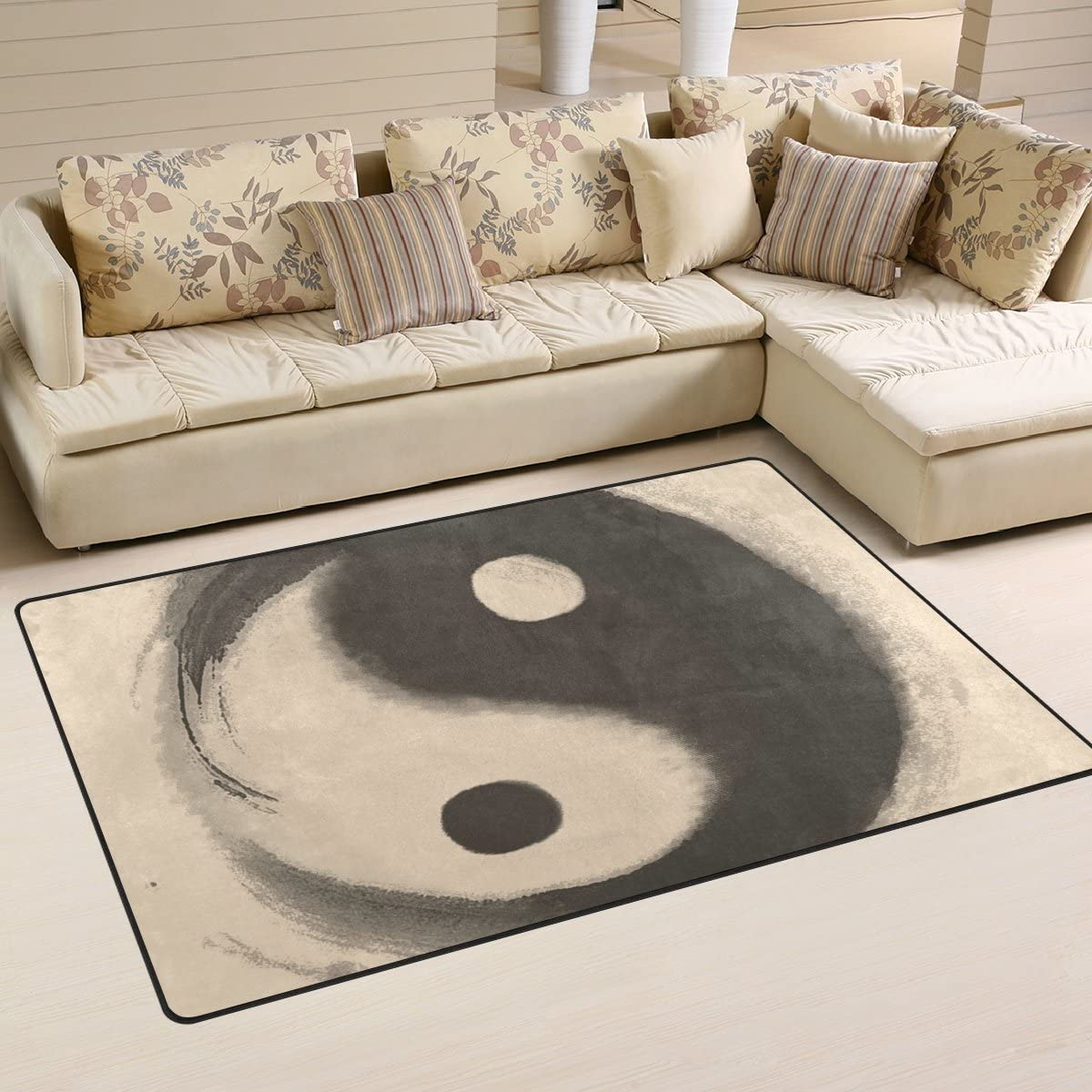 LORVIES Watercolor Ying Yang Area Rug Carpet Non-Slip Floor Mat Doormats for Living Room Bedroom 60 x 39 inches