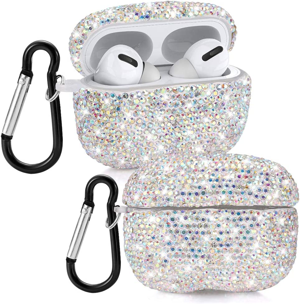 YINUO Bling Rhinestones Cover for AirPods Pro Case, Crystal Diamond Carrying Case with Keychain for 2019 AirPods Pro Charging Case (Colorful Silver)