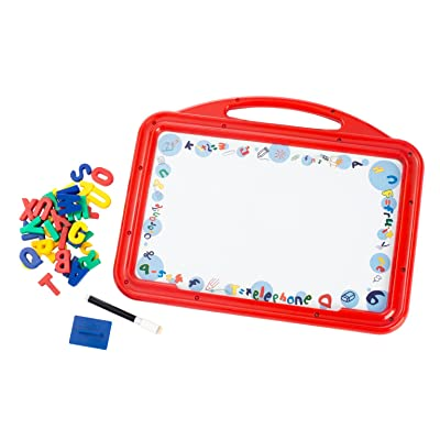 Skribble Master Kids Decorative Magnetic Travel Friendly White Board; with 34 Magnetic Letters, Dry Erase Marker and Easer.