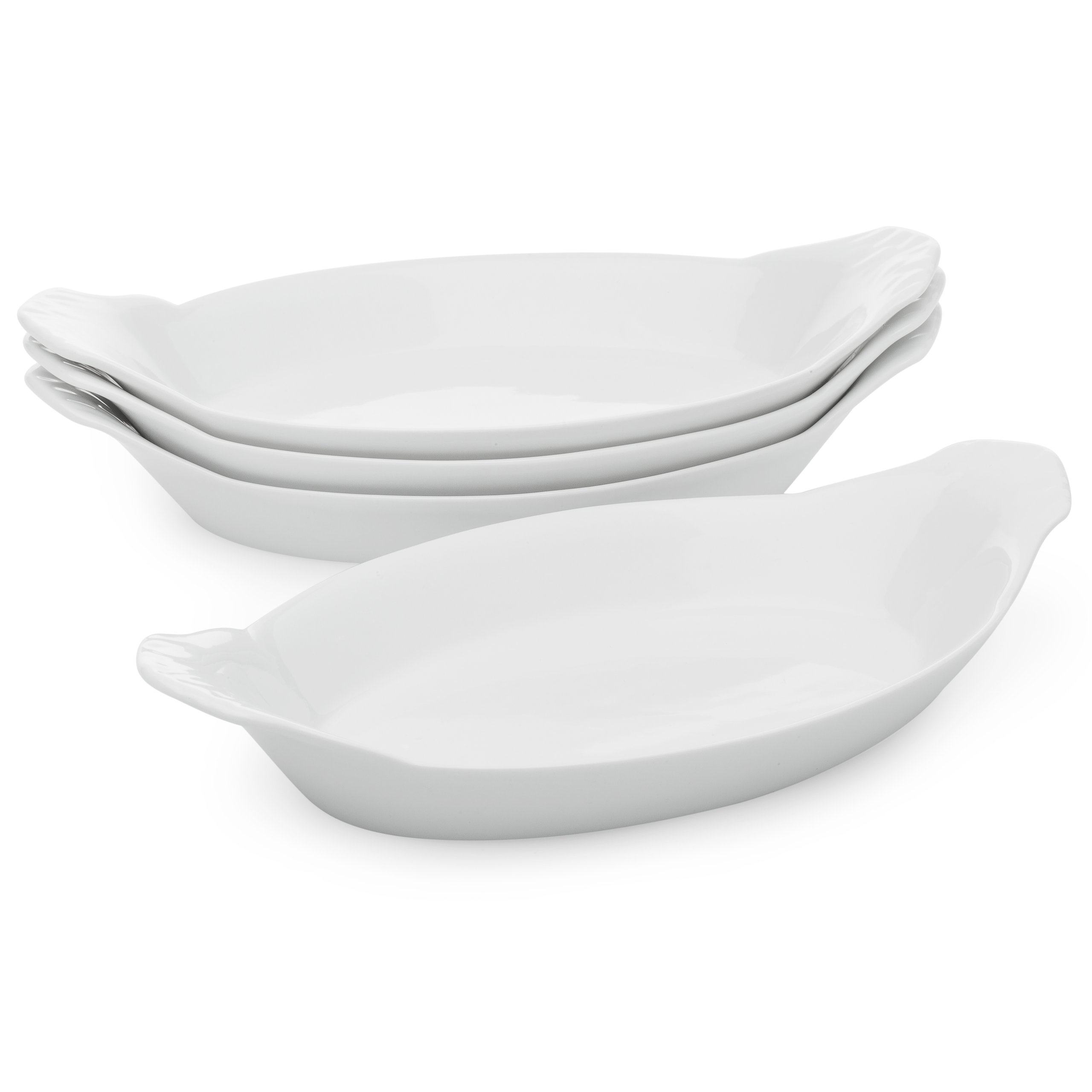 HIC Oval Au Gratin Baking Dishes, Fine White Porcelain, 10'', Set of 4