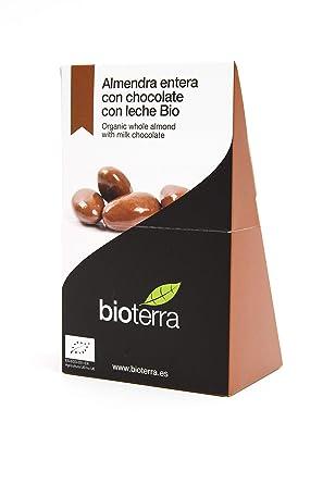 Bioterra, almendra entera con chocolate con leche bio gourmet, 3 estuches de 100 g