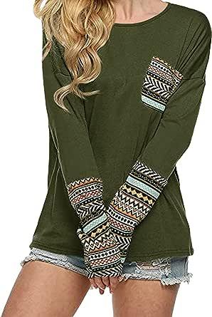 ZANZEA Mujer Camiseta Manga Larga Talla Grande Cuello Redondo Jersey Labios Estampada Túnica Tops Blusa