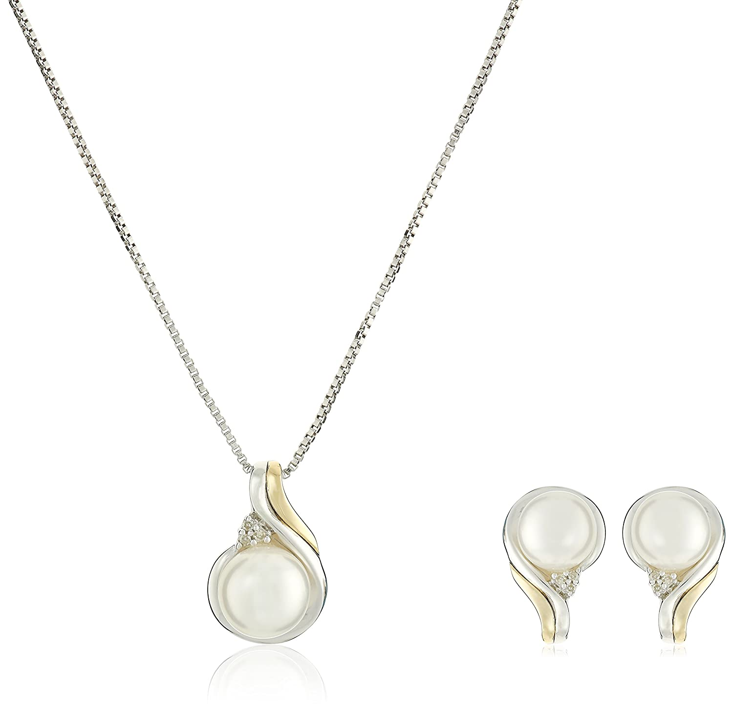 sterling diamond freshwater gold jewelry amazon yellow and accent cultured silver dp sets com set pendant pearls pearl