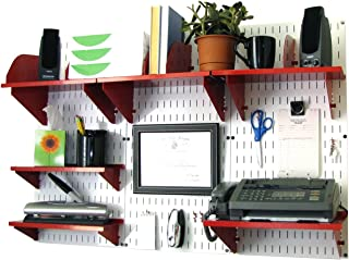 product image for Wall Control Office Organizer Unit Wall Mounted Office Desk Storage and Organization Kit White Wall Panels and Red Accessories