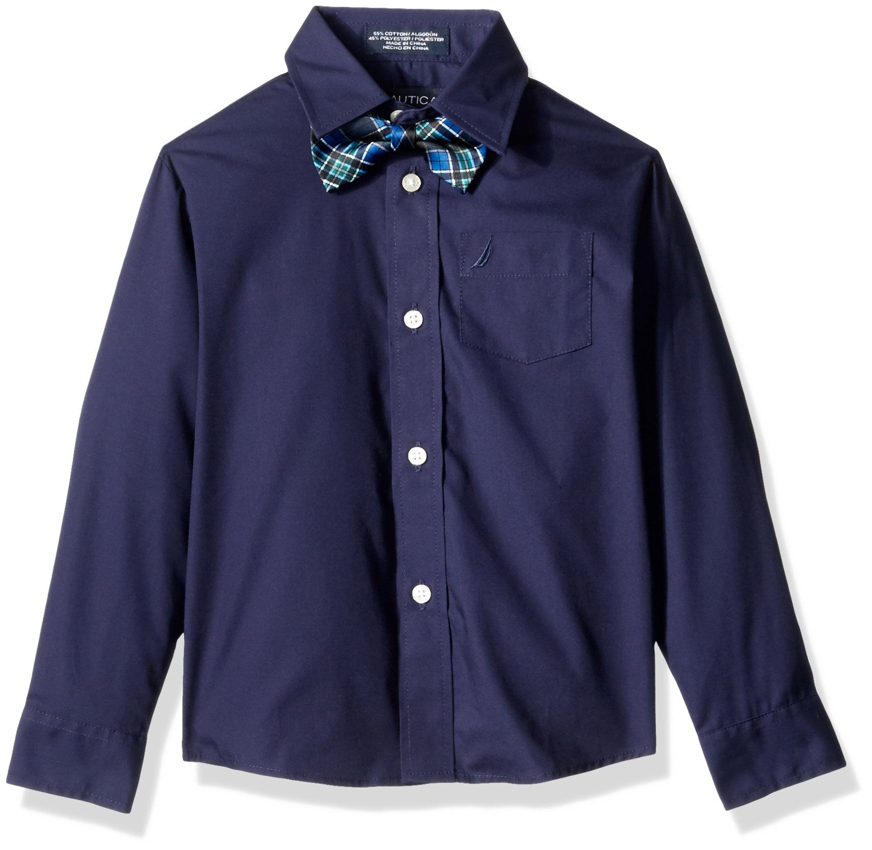 Nautica Little Boys Long Sleeve Solid Shirt with Bow Tie, Peacoat, 4