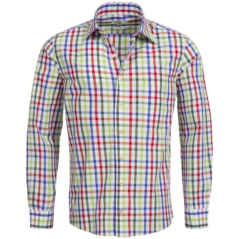 Trachtenhemd Regular Fit mehrfarbig in Rot, Hellgrün und Grün von Almsach