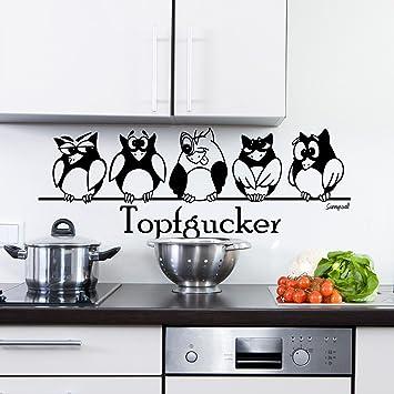 Wandtattoo Sunnywall Topfgucker Eulen Vögel Kochen Küche Essen Wandsticker  Schwarz Gr1