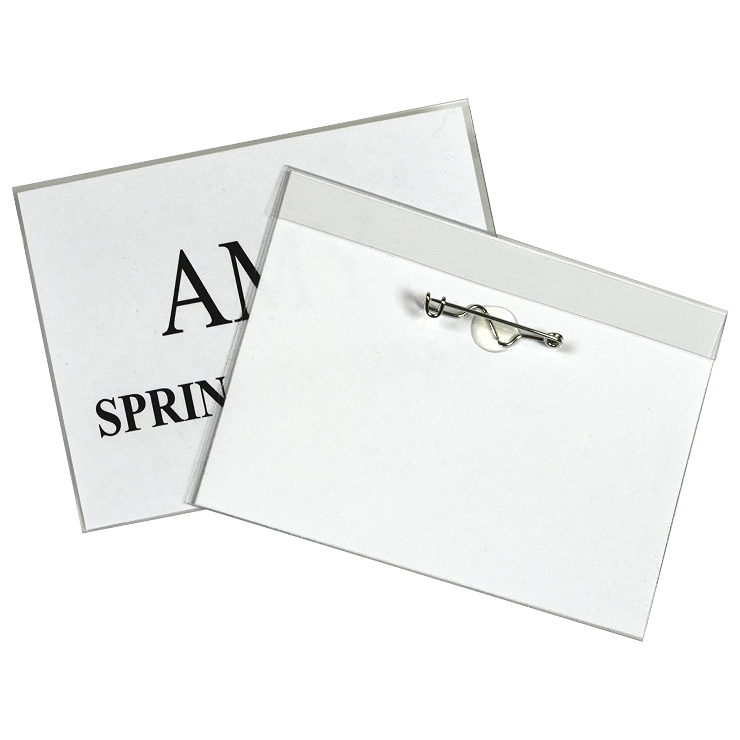 C-Line Pin Style Name Badge Holders, 3.5 x 2.25 Inches, Clear, 100 per Box (94223) C-Line Products Inc.