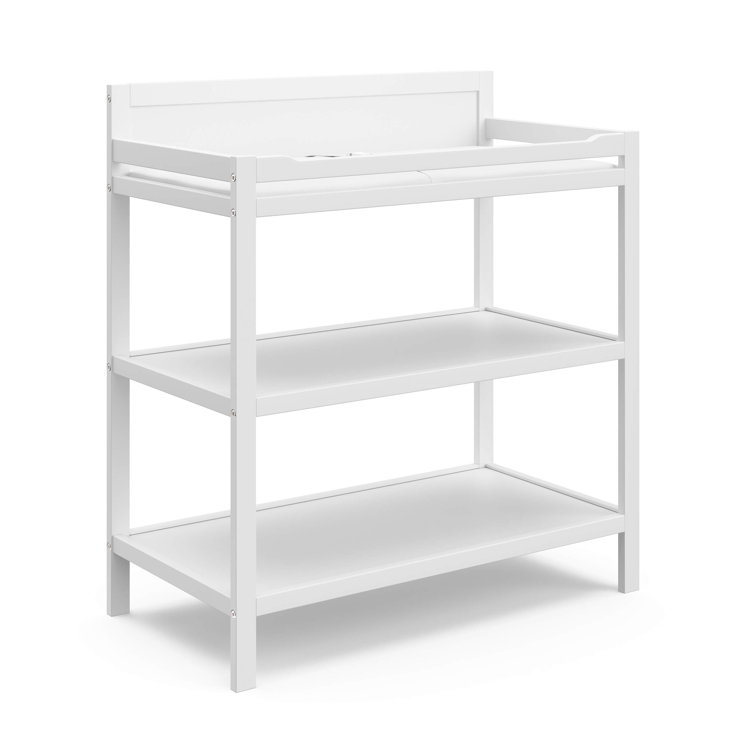 StorkCraft Storkcraft Alpine Changing Table with Water-Resistant Change Pad and Safety Strap, White, Multi Storage Nursery Changing Table for Infants or Babies, White, 00524-221 by Storkcraft