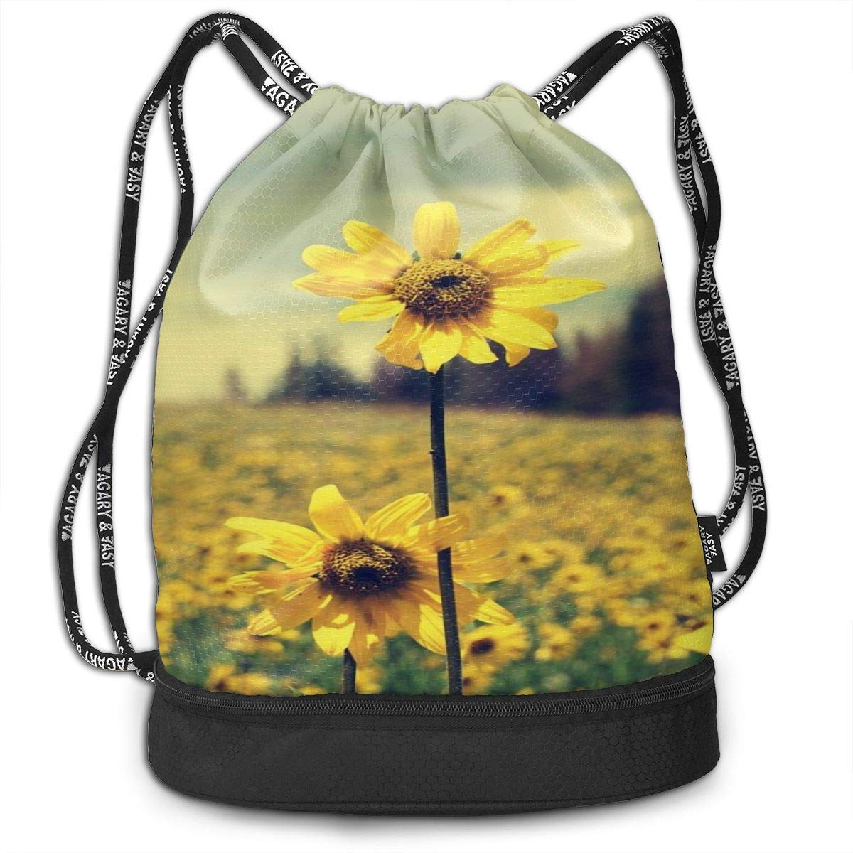 Firm Sunflower Beam Mouth Drawstring Backpack Waterproof Shoulder Strap Leisure Backpack Portable Gym Bag