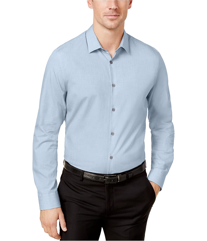 Alfani Mens Heathered Long Sleeve Button-Down Shirt