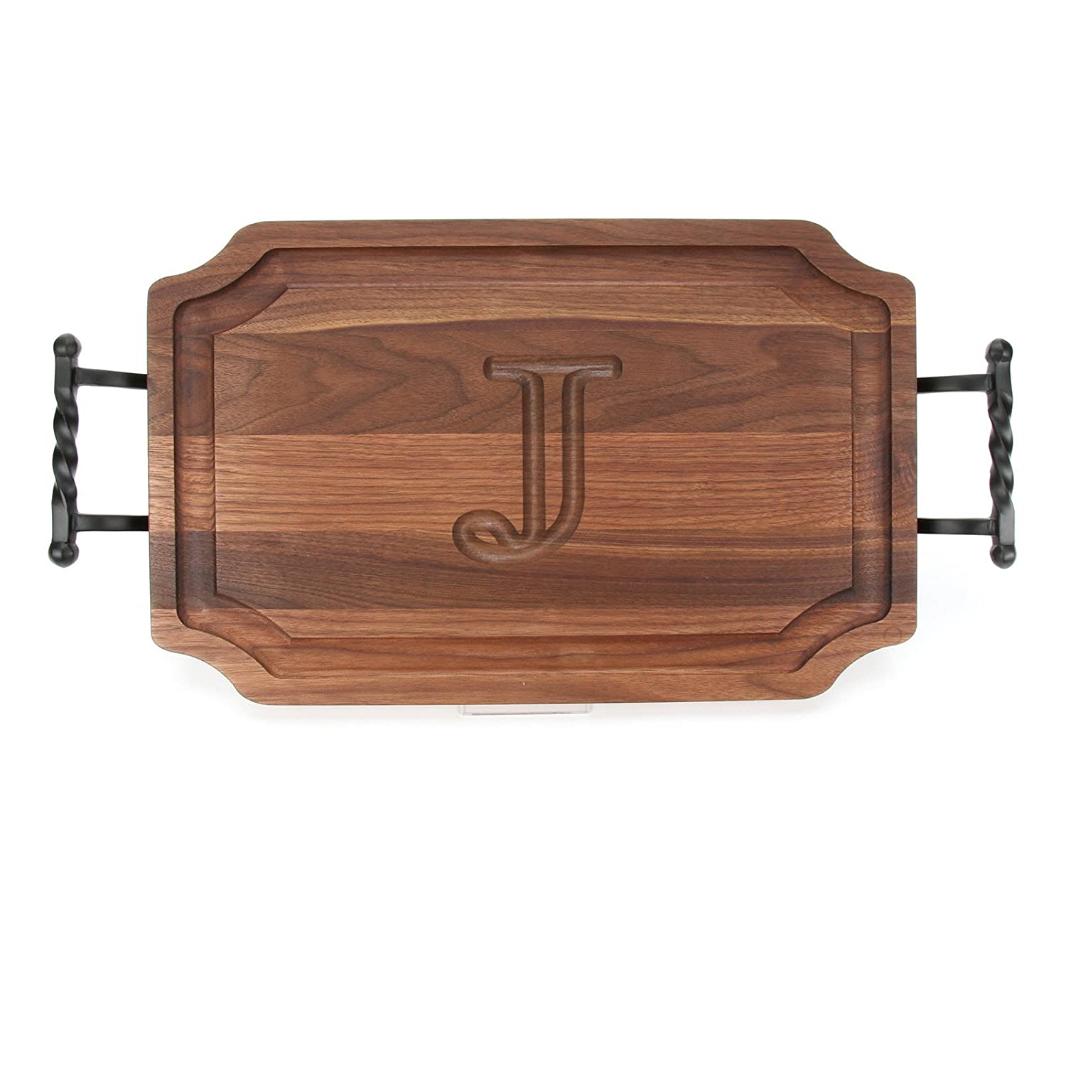 BigWood Boards W320-LTWB-W Carving Board with Large Twisted Ball Handle with Scalloped Corners, 15-Inch by 24-Inch by 1.25-Inch, Monogrammed'W', Walnut