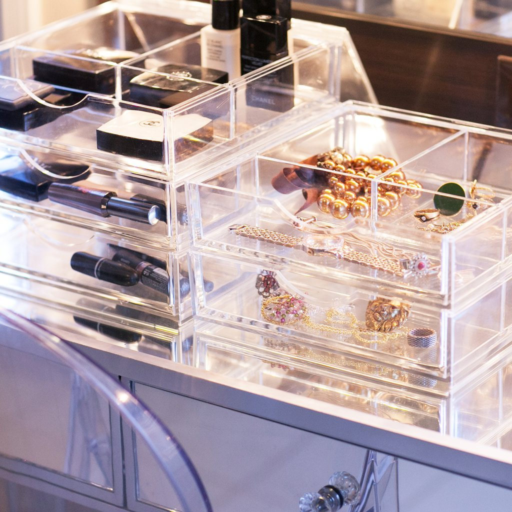 Boxy Girl Clear Makeup Storage Triple Stack Without Lid 100% Lucite, Cube