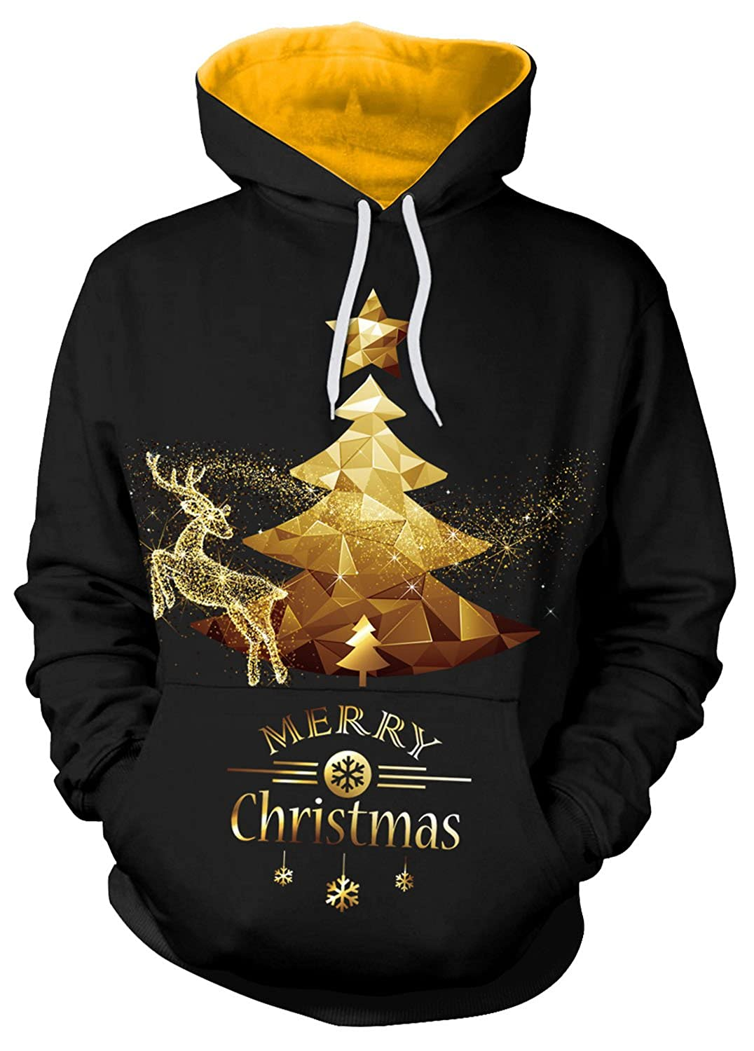 Sister Amy Couple Cute 3D Santa Print Ugly Christmas Pocket Sweatshirt Hoodies