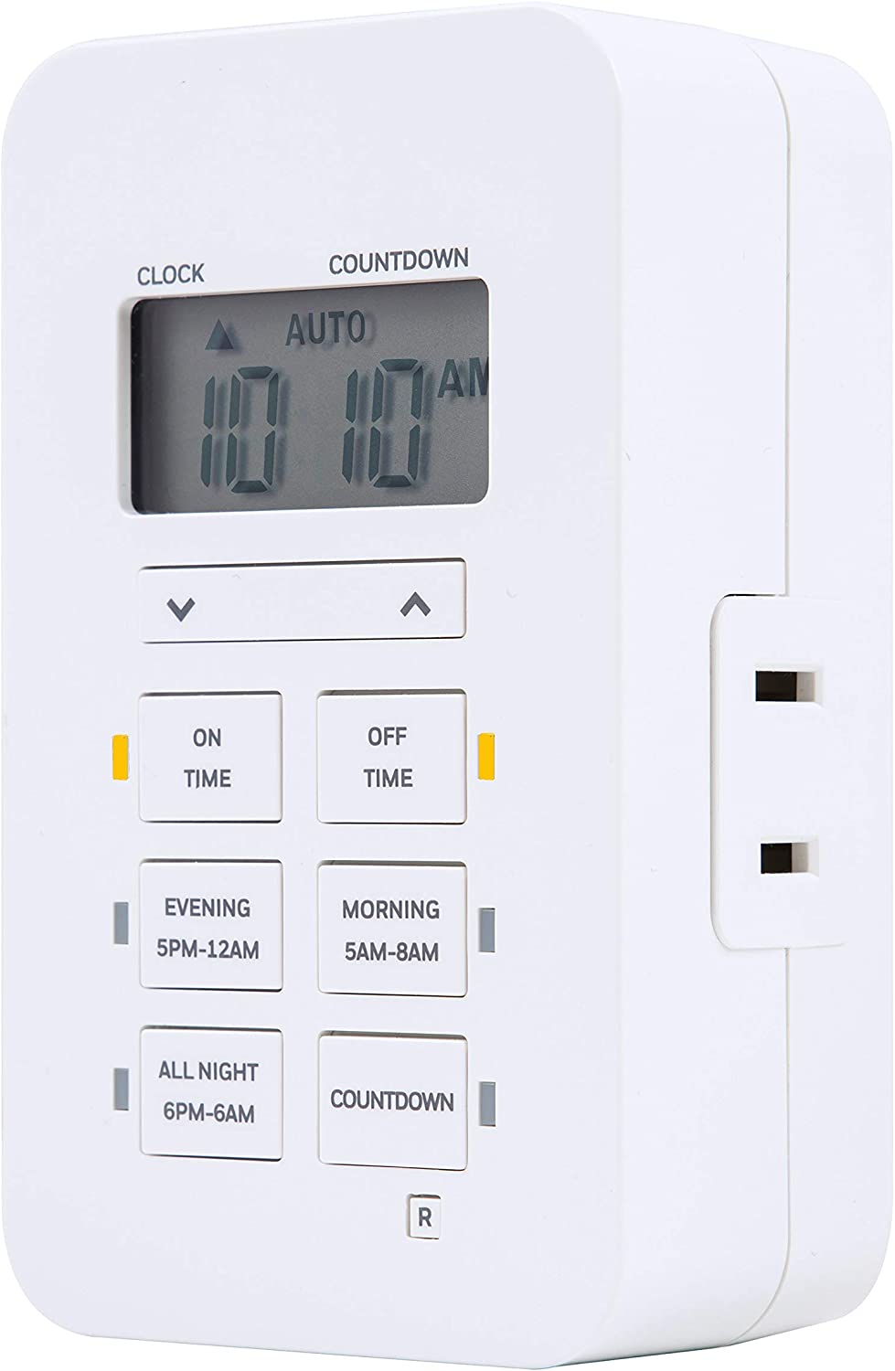 UltraPro 24-Hour Honeywell Indoor Plug-In Digital Timer, Custom Settings, Presets/Countdown, 1 Polarized Outlet, Battery Backup, Ideal for Lamps, Small Fixtures, Seasonal Lighting, LED, 40959, 1 Pack