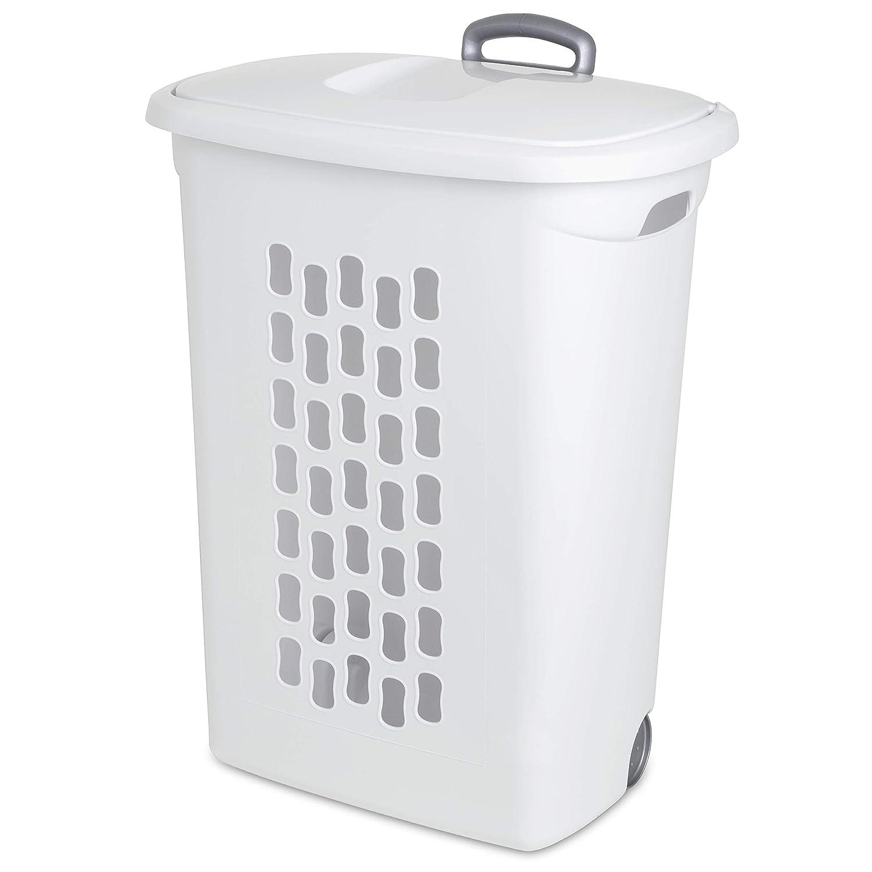 3-Pack Sterilite 12228003 Ultra Wheeled Hamper White Lid /& Base w// Titanium Handle /& Wheels