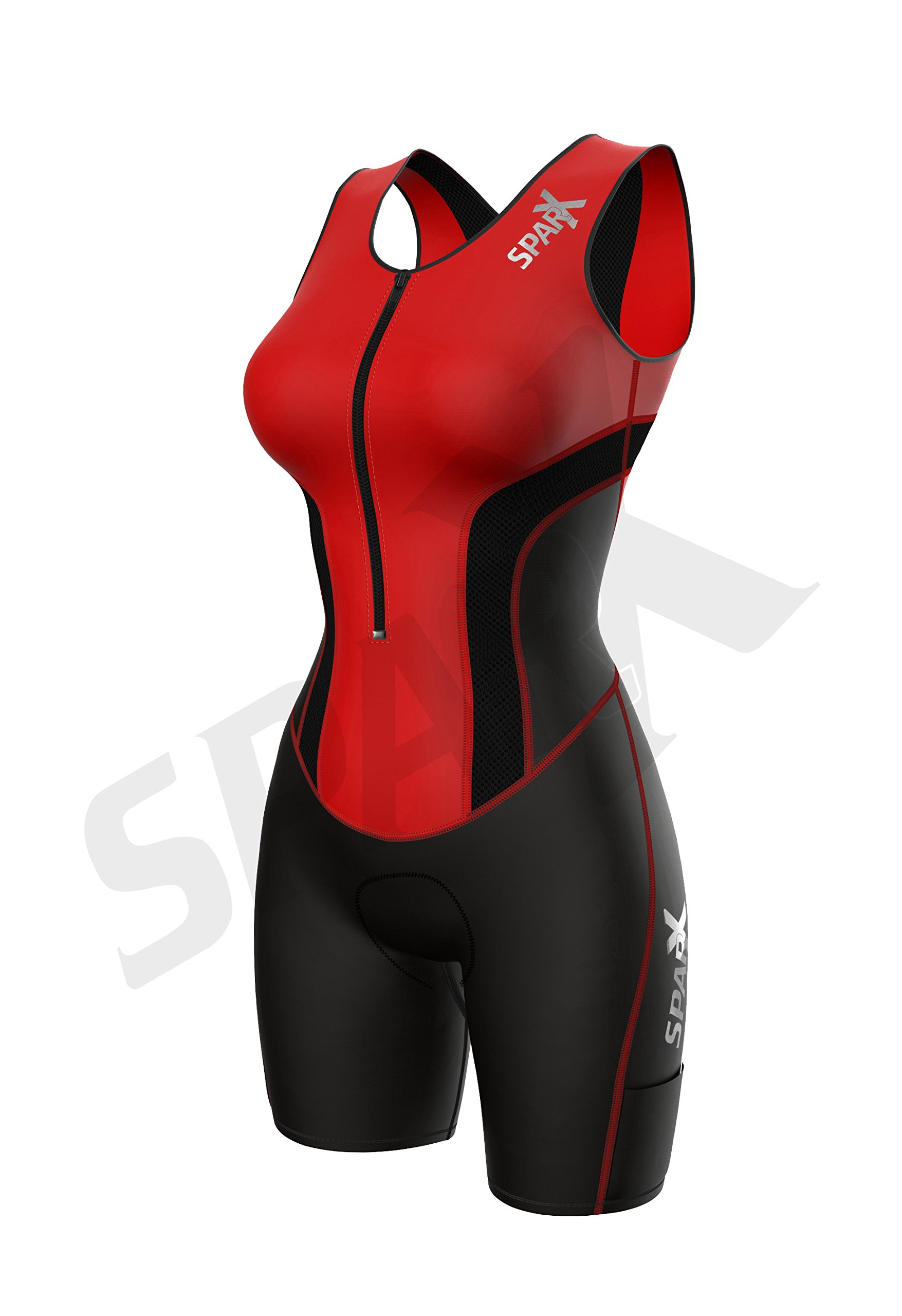Sparx Women Triathlon Suit Tri Short Racing Cycling Swim Run (Small, Red) by Sparx Sports (Image #3)