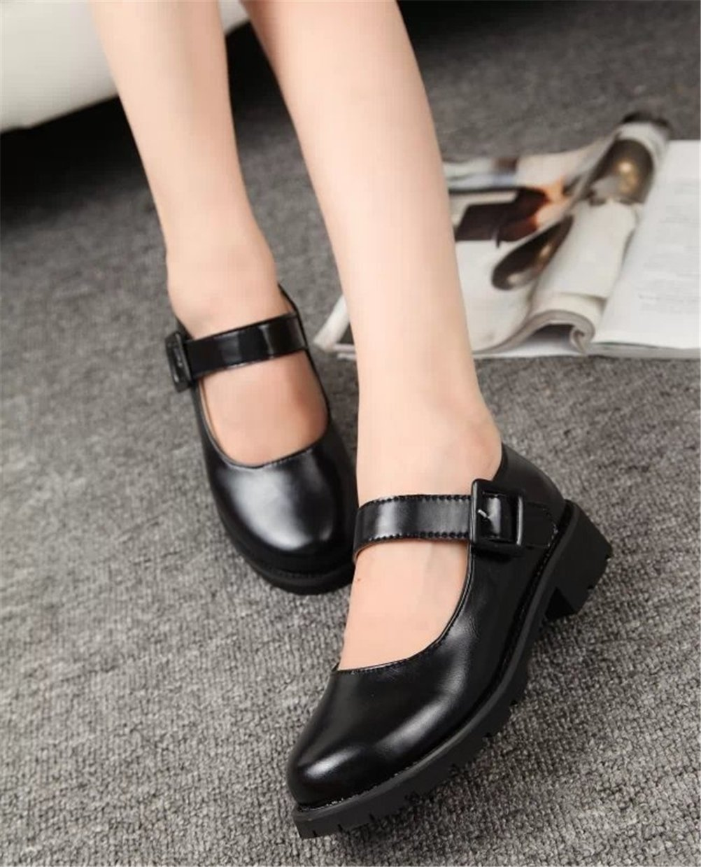ACE SHOCK Women's Girl's Lolita Low Top Japanese Students Maid Uniform Dress Shoes (5.5, Black) by ACE SHOCK (Image #5)