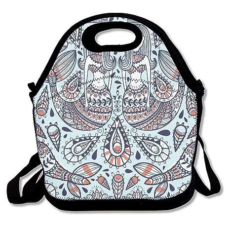 5f96cd8daacf Amazon.com: Cute Lunch Bag Boho Mermaid Lunch Tote Bag Travel School ...