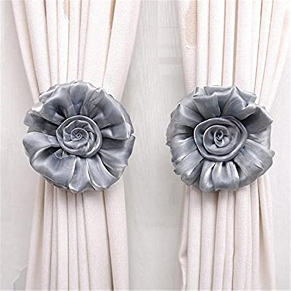 Greenlans Rose Flower Curtain Tiebacks(Grey)