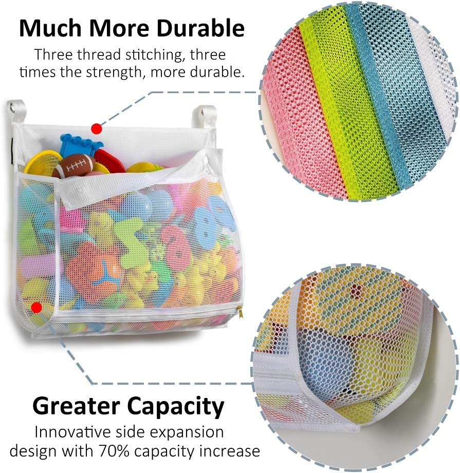Multiple Ways to Hang Extra Large Opening Bathroom Toy Holder Large Capacity Multi Use Bathtub Toy Storage Bag (1 Large Tenrai Clever Zippered Mesh Bath Toy Organizer Green)