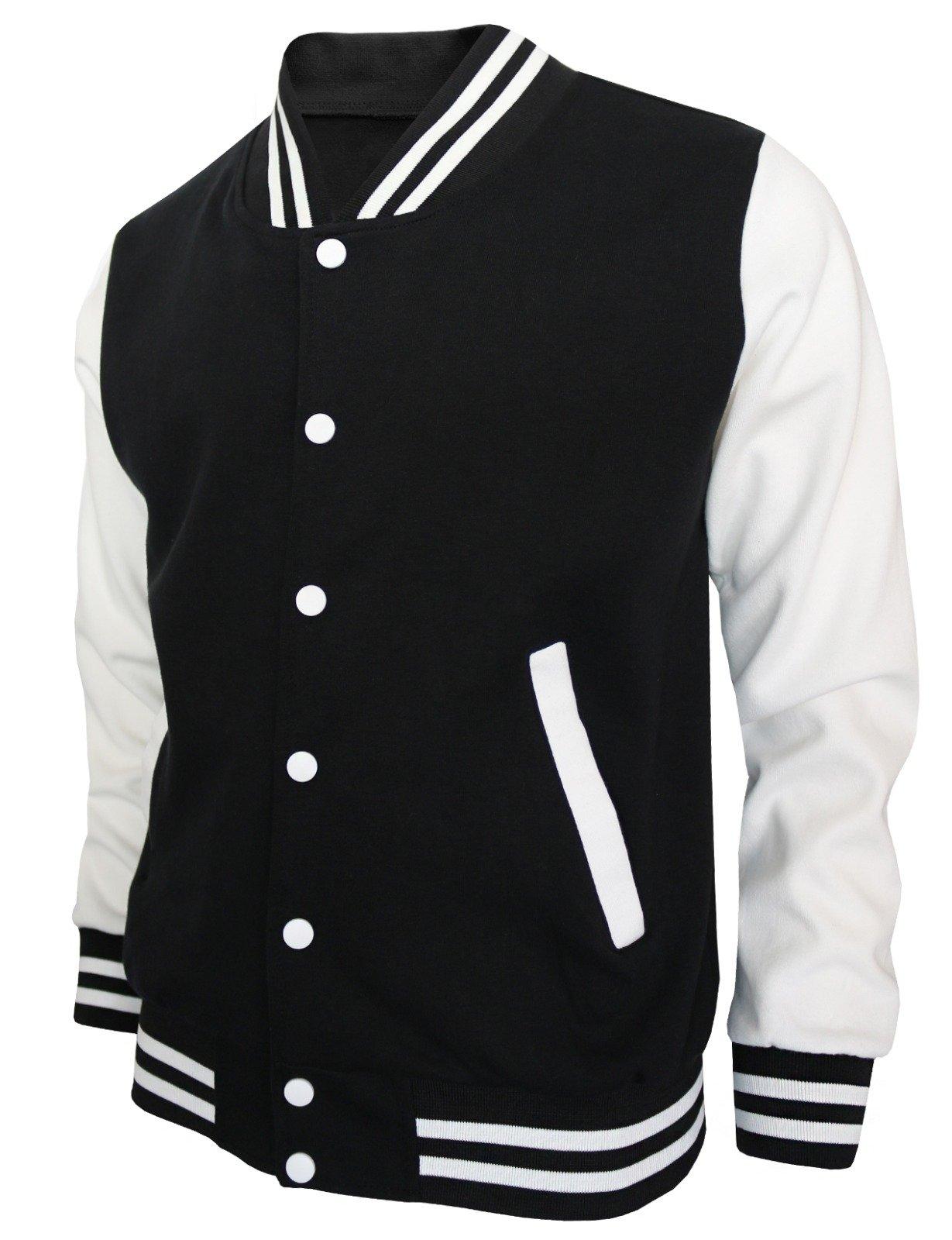 BCPOLO Baseball Jacket Varsity Baseball Cotton Jacket Letterman Jacket 8 Colors-Black XS by BCPOLO