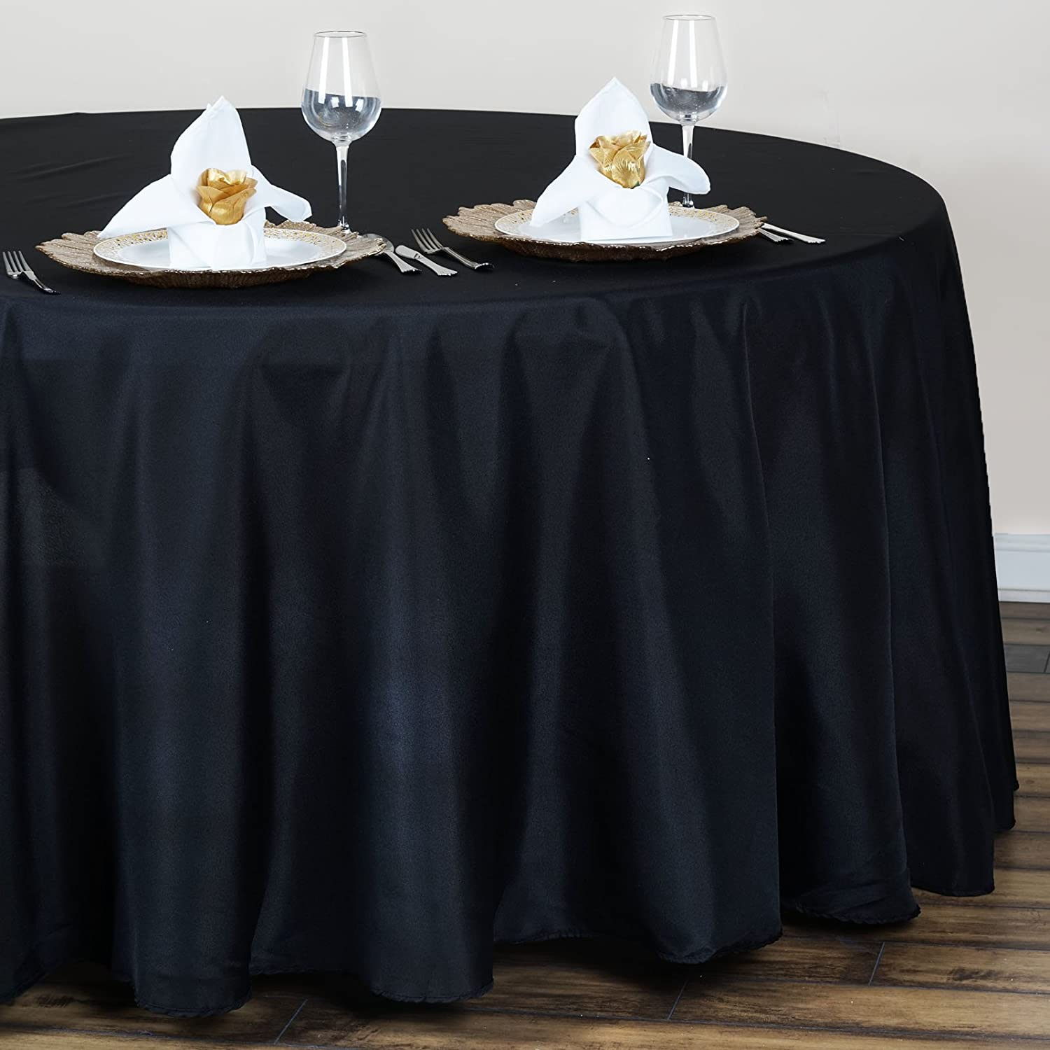 Amazon BalsaCircle 120 Inch Black Round Polyester Tablecloth