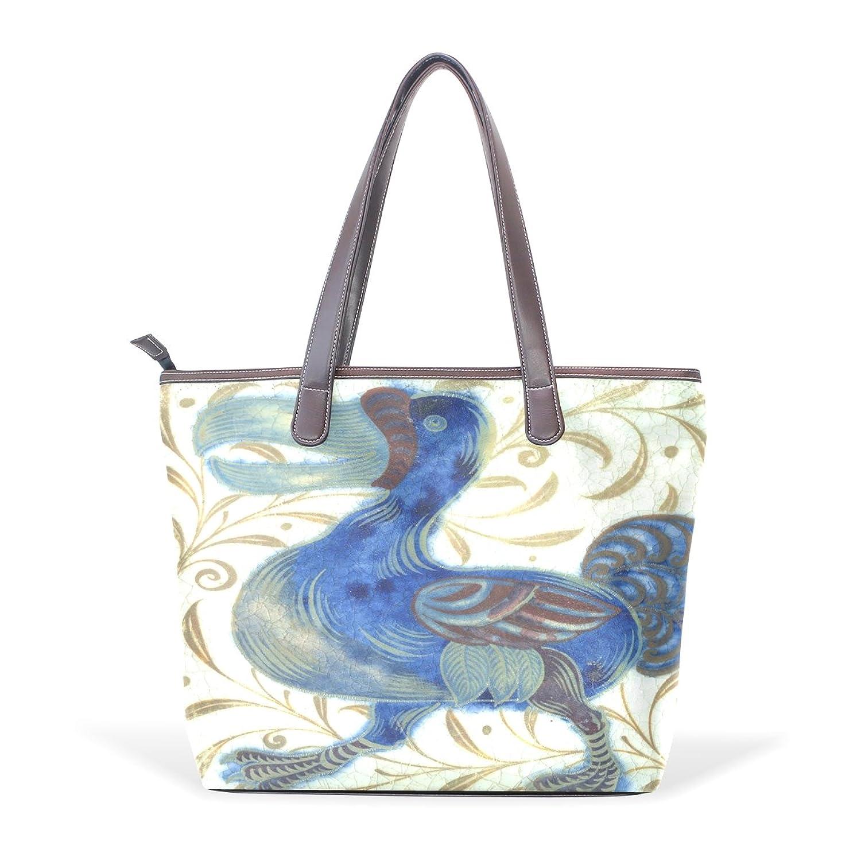 LONG S - G Toucan PU Leather Shopping Tote Bag Zipper Bag Shoulder Bag