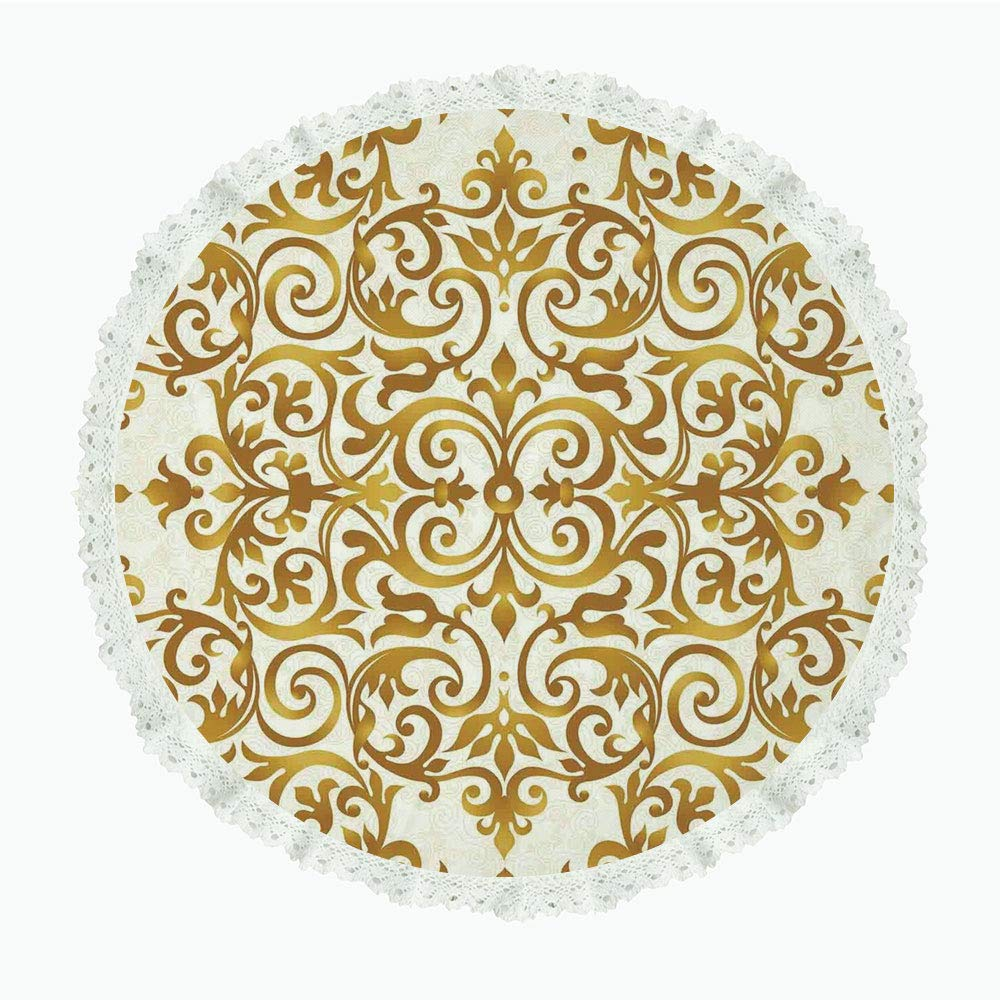 """iPrint 85"""" Round Polyester Linen Tablecloth,Kitchen Decor,Victorian Golden Lace Antique Baroque Pattern Oriental Ottoman Royal Square Pattern,White Gold,for Dinner Kitchen Home Decor"""
