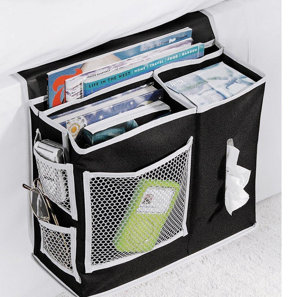 VOIMAKAS Bedside Hanging Storage Bag, 6 Pockets Oxford Cloth Organizer Bag for Book Magazine Phone Tissue TV Remote Accessory - Black by VOIMAKAS (Image #2)