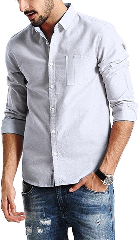 Mofgr Men Long Sleeve 100/% Pure Cotton Slim Fit Plus Size Casual Shirts