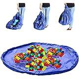 Toy Storage Bag, Rusee Toy Storage Bag Organizer Kid Play Mat Portable Lego Organize Foldable Picnic Camping Mattress Shoulder Bag Blue 60 in