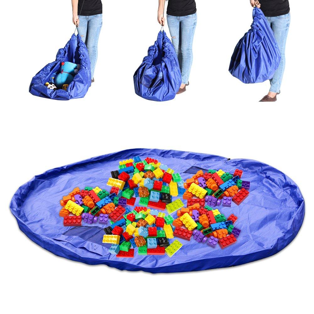 Bolsa de Almacenamiento de Juguetes, Juguete de Rusee Almacenamiento de Bolsa Organizador Juego de Nios Alfombra Porttil Lego Organizar Plegable Picnic Camping Colchn Bolsa Azul 60 Pulgadas RU-TB0330-01