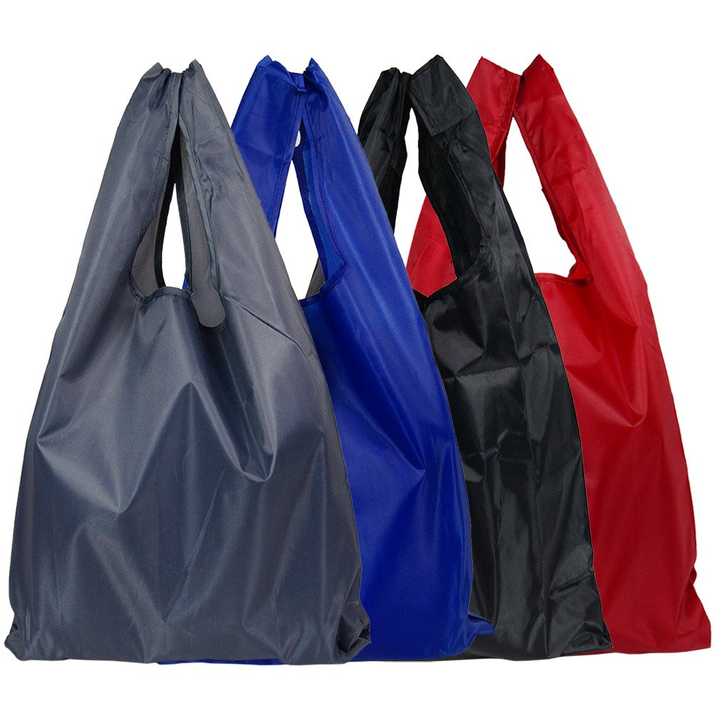 4pcs Recycle Shopping Bags Handle Foldable Reusable Colorful Tote Bag (red/blue/grey/black)