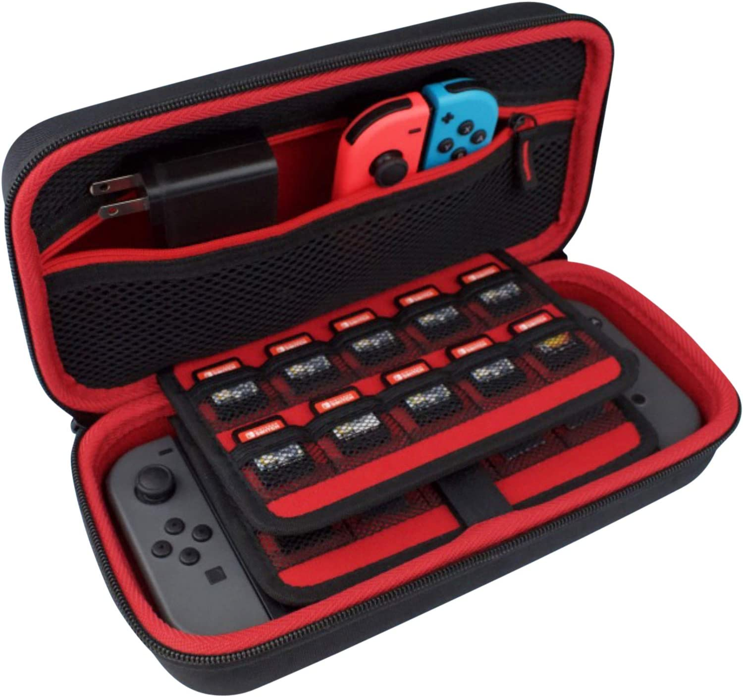 TAKECASE Nintendo Switch Hard Case, Fits Adapter/Charger, Includes 19 Game Card Storage, Accessories Pouch, Handle, Nintendo Switch Carrying Case, ...