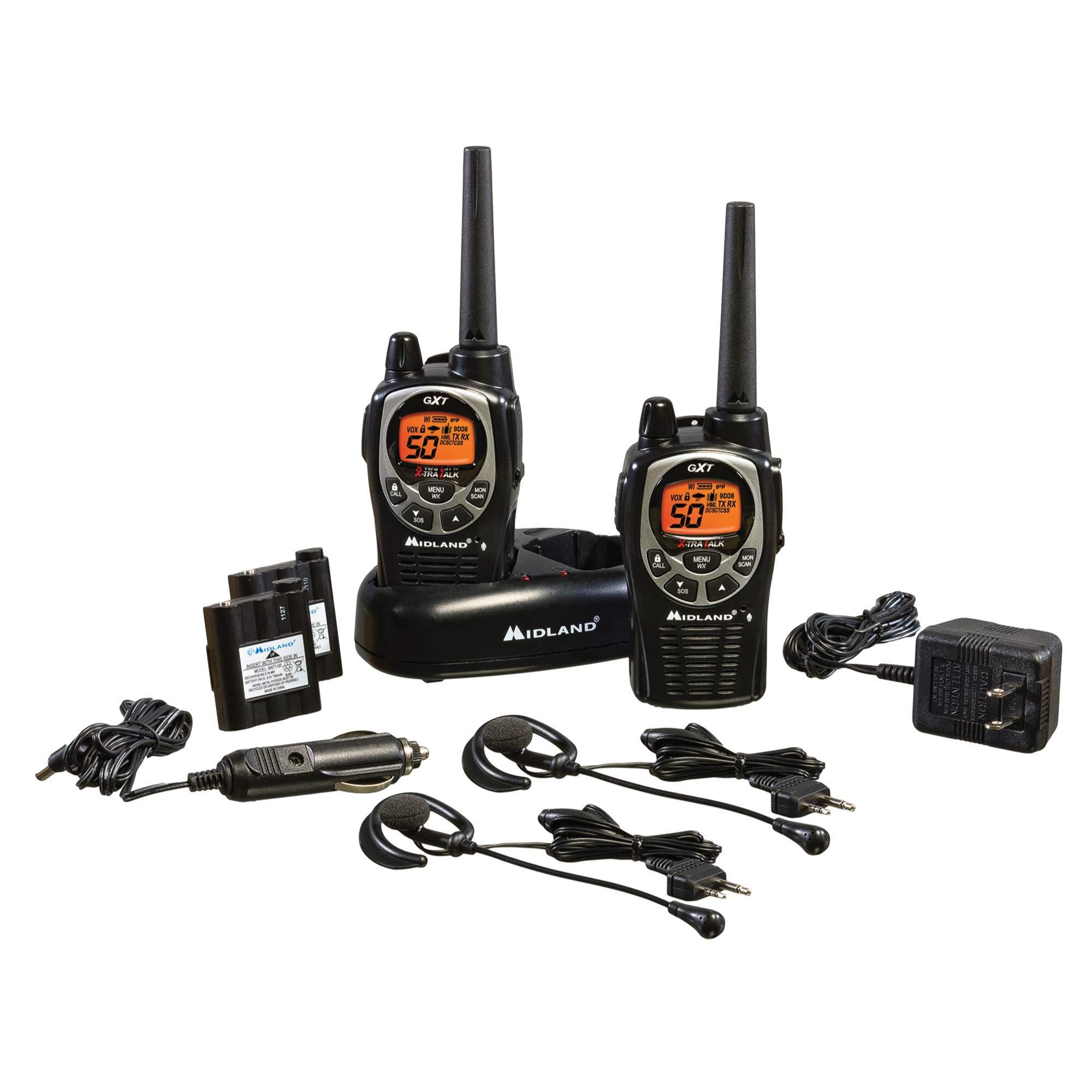 Midland - GXT1000VP4, 50 Channel GMRS Two-Way Radio - Up to 36 Mile Range Walkie Talkie, 142 Privacy Codes, Waterproof, NOAA Weather Scan + Alert (Pair Pack) (Black/Silver) by Midland