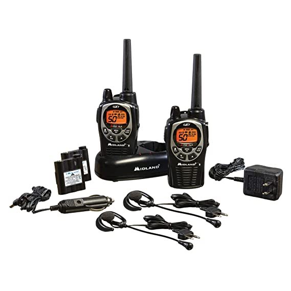 Midland Walkie Talkie >> Gxt1000vp4 50 Channel Gmrs Two Way Radio Up To 36 Mile Range Walkie Talkie 142 Privacy Codes Waterproof Noaa Weather Scan Alert Pair Pack