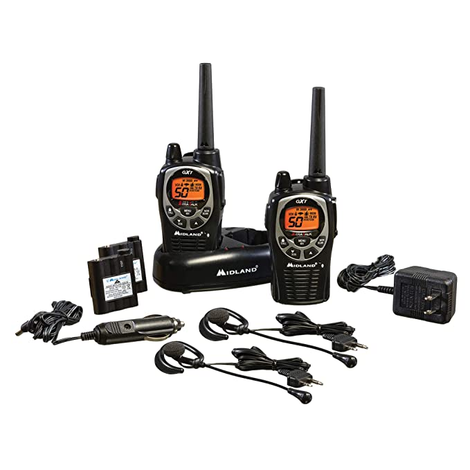 GXT1000VP4, 50 Channel GMRS Two-Way Radio - Up to 36 Mile Range Walkie Talkie, 142 Privacy Codes, Waterproof, NOAA Weather Scan + Alert (Pair Pack) (Black/Silver)