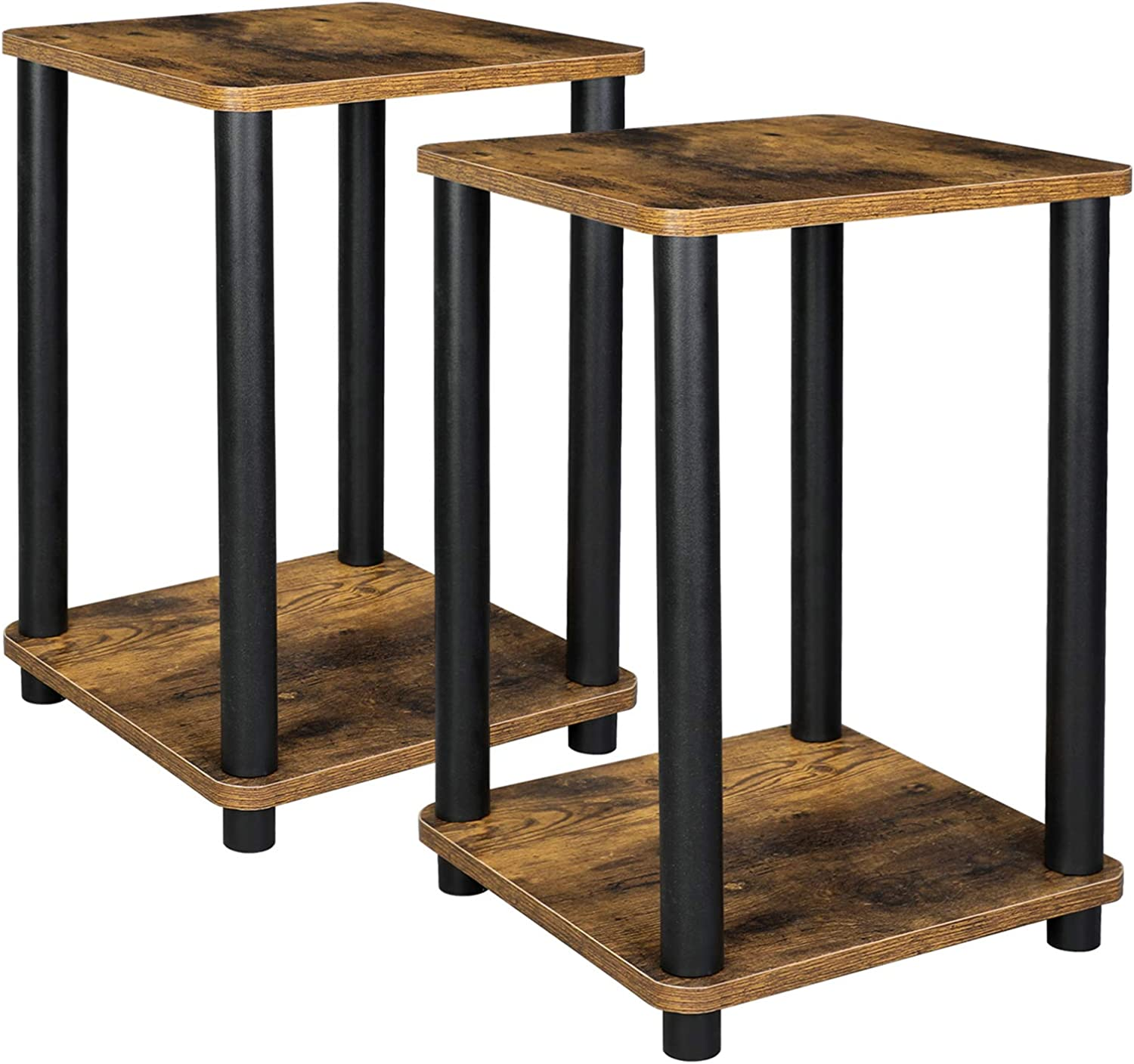 VASAGLE 2-Tier End Table, Set of 2, Nightstand, Side Table with Storage Shelf, Stable, for Living Room, Bedroom, Office, 13.4 x 13.4 x 19.7 Inches, Rustic Brown and Black ULET181X01