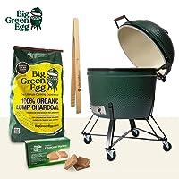 Big Green Egg Starterset XXLarge Keramikgrill Keramik grün groß Ceramic Smoker Garten Grill-Set ✔ Lenkrollen mit Bremse ✔ Deckel ✔ oval ✔ rollbar ✔ stehend grillen ✔ Grillen mit Holzkohle ✔ mit Rädern