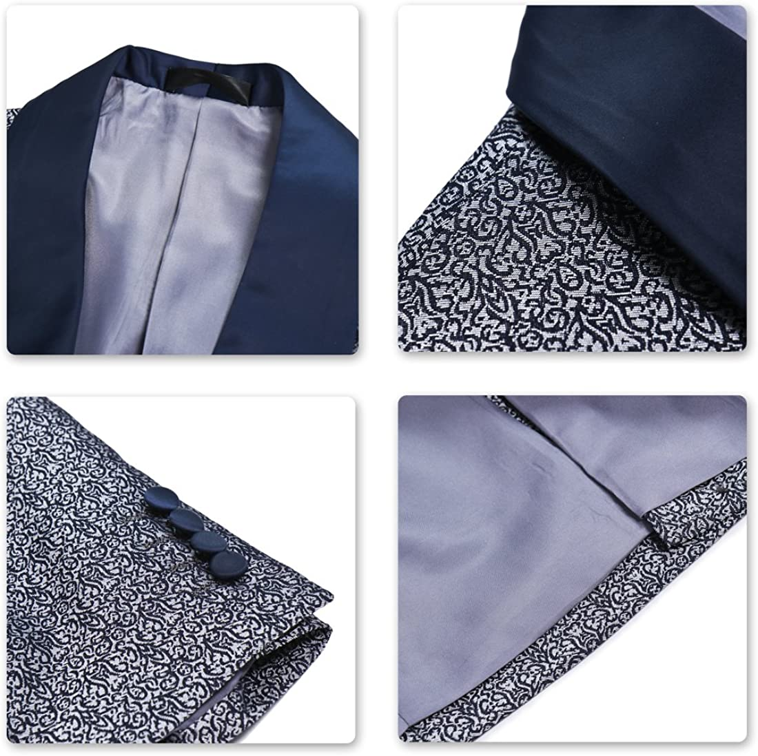 Sliktaa Mens Suits 3 Pieces Formal Classic Business Wedding Dress Button Down Casual Jacket Vest and Trousers