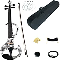 Kinglos 4/4 Skull Colored Solid Wood Intermediate-A Electric/Silent Violin Kit with Ebony Fittings Full Size (DSZA1312)