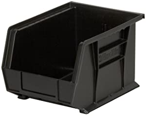 Akro-Mils 30239 Plastic Storage Stacking Hanging Akro Bin, 11-Inch by 8-Inch by 7-Inch, Black, Case of 6