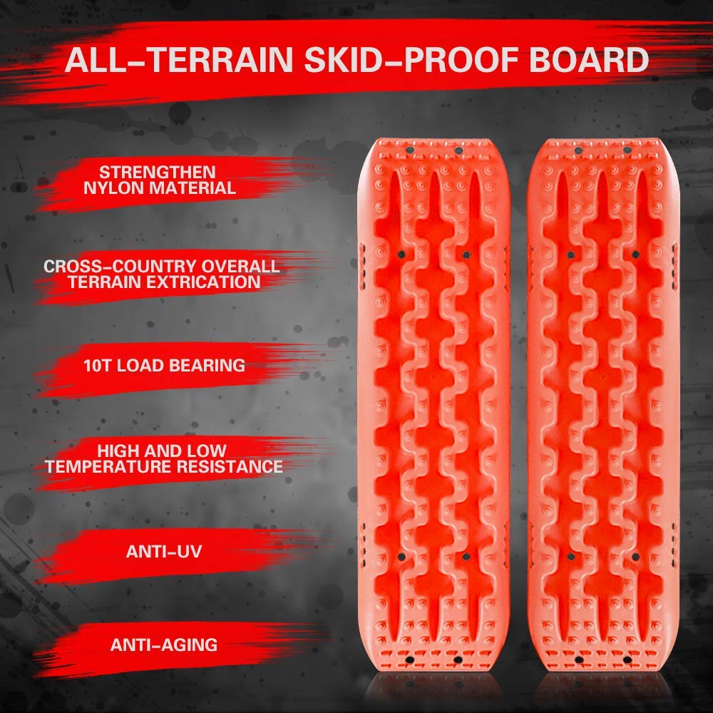Sand AutoMotor Escaper Buddy Traction Mats for Off-Road Mud Set of 2 Orange Snow Vehicle Extraction