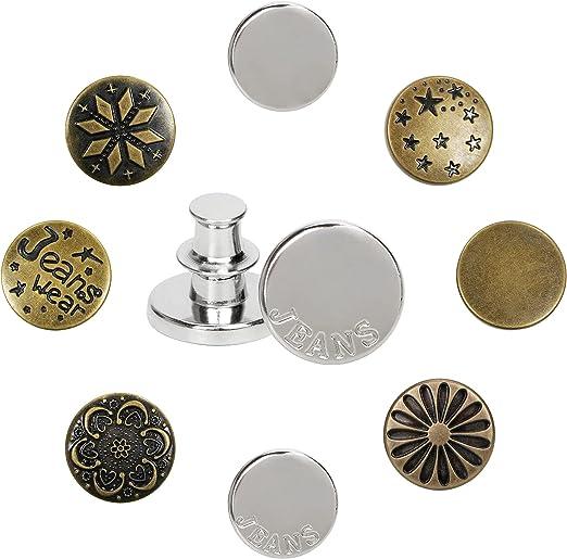 Detachable Buttons Jeans Buttons 0.66 inch Metal Alloy Instant Buttons 8 Pieces of Universal Jeans Button pins Replaceable Waist Adjustment Buttons Removable Decorative Buttons [Baeelyy]