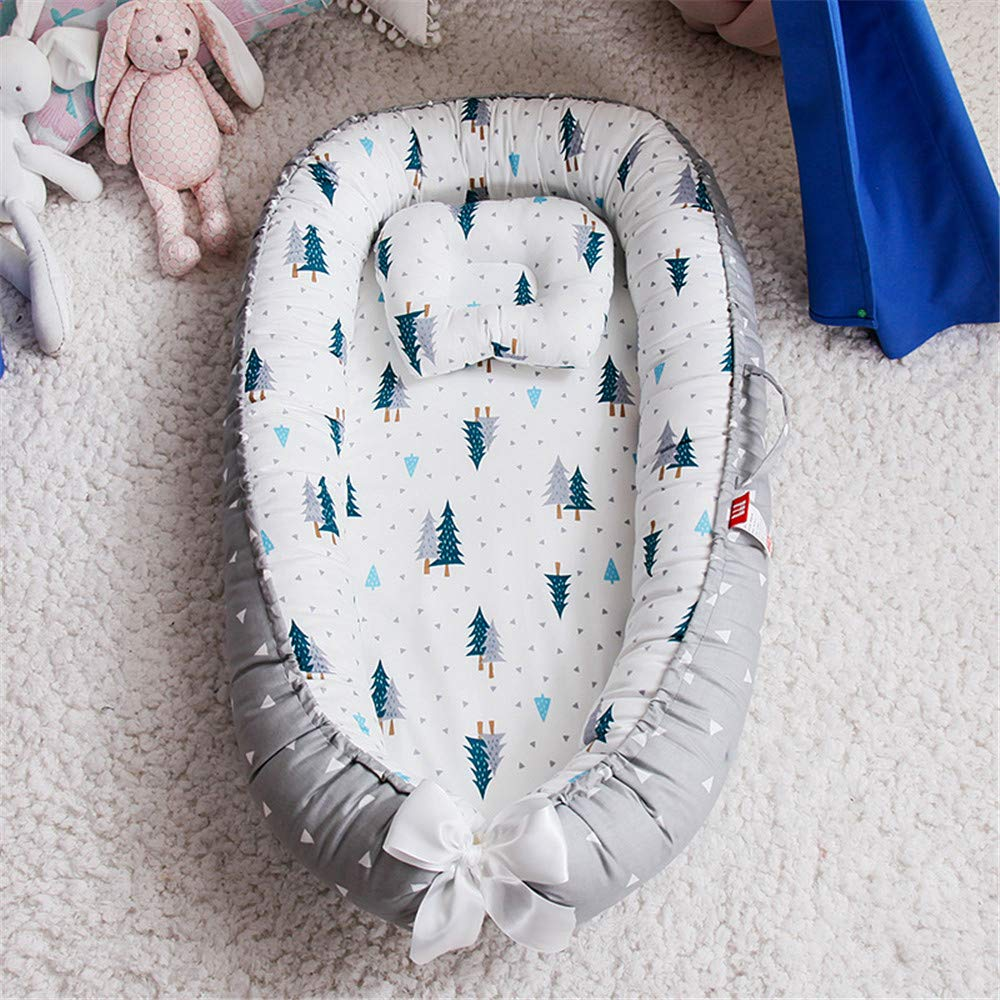 100/% Cotton Portable Crib Pillow for Bedroom//Travel//Camping Abreeze Baby Bassinet for Bed,Wave Star-Yellow Baby Lounger Crib Bedding Breathable /& Hypoallergenic Co-Sleeping Baby Bed